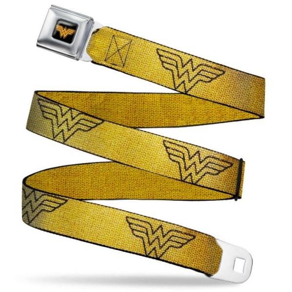 Wonder Woman Logo Reverse Brushed Black Gold Wonder Woman Logo Metallic Seatbelt Belt