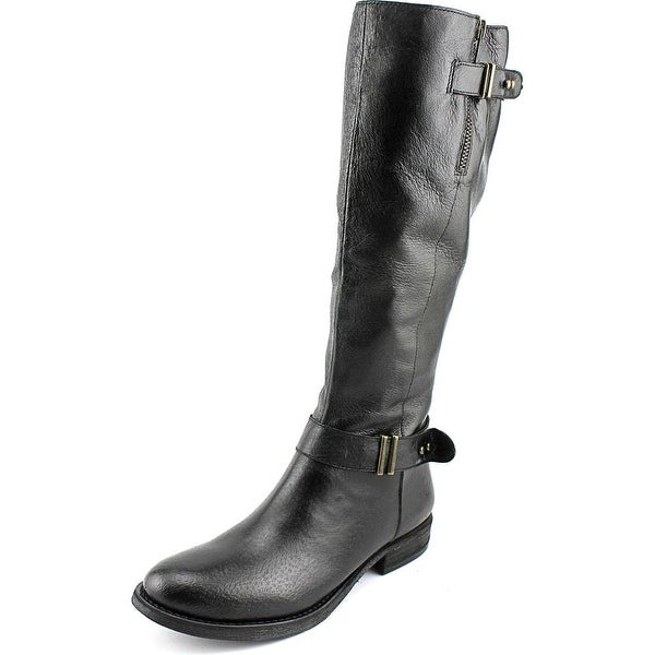 Steve Madden Alyy Women  Round Toe Leather Black Knee High Boot