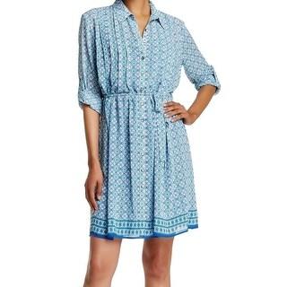 Max Studio NEW Blue Tile Women's Size XS Pleated Collar Shirt Dress