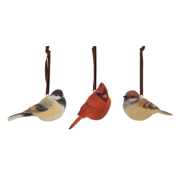 "Club Pack of 18 Sparrow and Cardinal Bird Ornaments 4"" - brown"