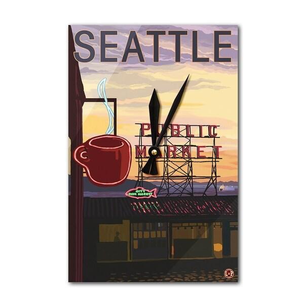 Seattle, WA - Pike Place Market Sign - LP Artwork (Acrylic Wall Clock) - acrylic wall clock
