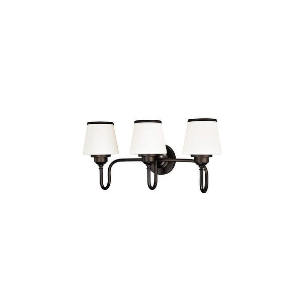 Vaxcel Lighting W0207 Kelsy 3 Light Vanity Light with White Glass Shades - noble bronze