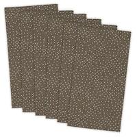 "Set of 6 Brown and White Buffet Natural Dot Printed Square Napkins 18"""