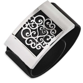 Chisel Stainless Steel Black Leatherette with Polished Scroll Wrap Bracelet