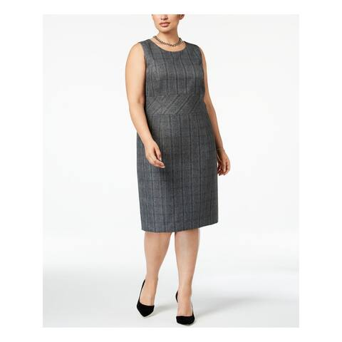KASPER Womens Gray Check Shift Wear To Work Dress Size 16W