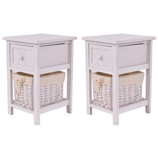 Costway Set of 2 Night Stand 2 Layer 1 Drawer Bedside End Table Organizer Wood W/Basket