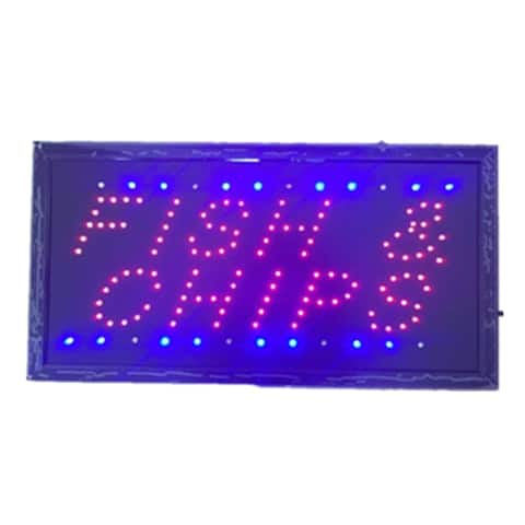 Neon Lights LED Animated Fish Chips Sign Customers Attractive Sign Store Shop Sign - Blue