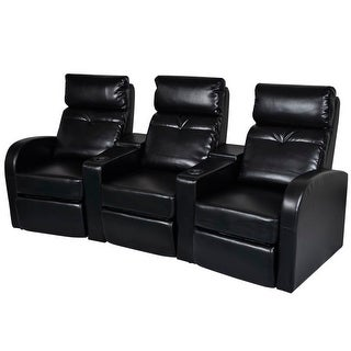vidaXL Artificial Leather Home Cinema Recliner 3-seat Black