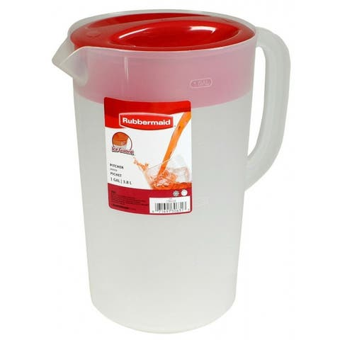 Rubbermaid 1777155 Classic Covered Pitcher, Clear Frost Base w/ Red Lid, 1 Gal