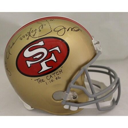 2f3620df47e Joe Montana Dwight Clark Autographed San Francisco 49ers Replica Helmet The  Catch BAS
