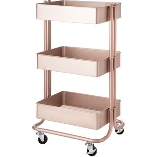 3-Tier Metal Rolling Cart-Rose Gold