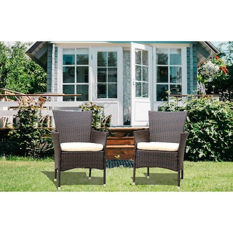 TiramisuBest Patio Rattan Armchair Seat with Cushions in 2pcs
