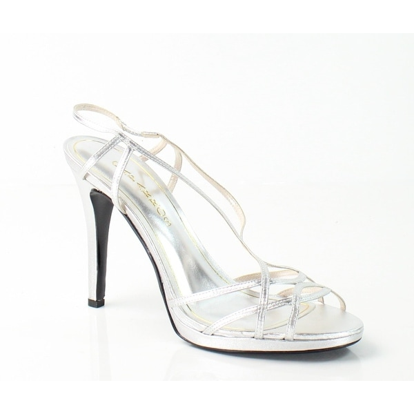 Caparros NEW Silver Sunday Shoes 10M Slingback Strappy Leather Heels