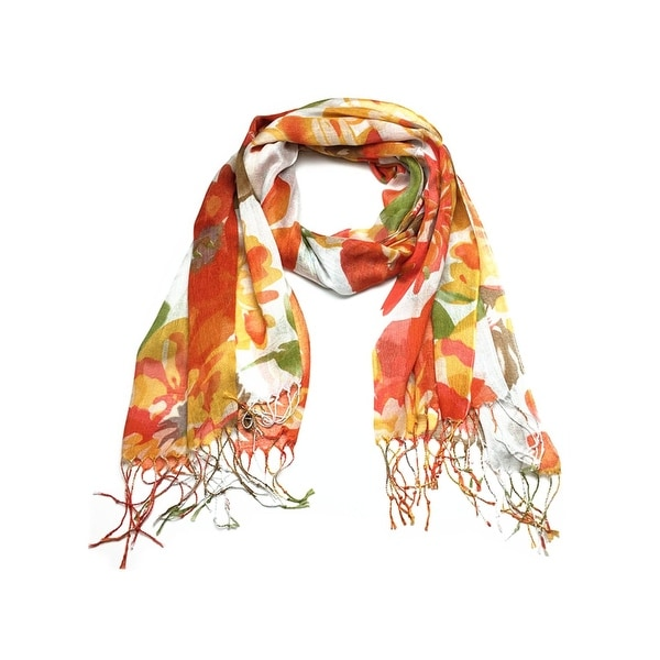 Women's Fashion Floral Soft Wraps Scarves - F2 orange - Large