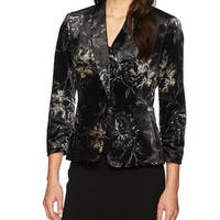 Kasper Black Womens Size 14 Velvet Floral Print Blazer Jacket