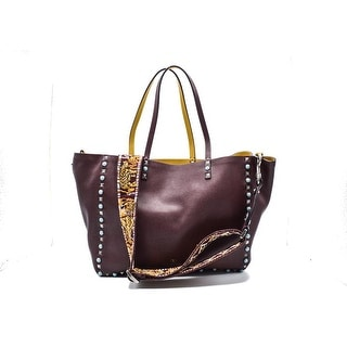 Valentino Guitarstrap Rockstud Medium Reversible Leather Burgundy Tote Bag - burgundy/mustard