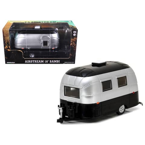 Airstream Bambi 16\' Camper Trailer Black / Silver for 1/24 Scale Model Cars and Trucks 1/24 Diecast Model by Greenlight