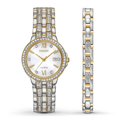 Citizen Women's EW2344-65A 'Silhouette' Two-Tone Stainless Steel with Sets of Crystal Watch - White