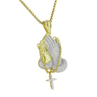 Praying Hands Pendant Rosary Cross Micro Pave Gold Tone Lab Diamonds