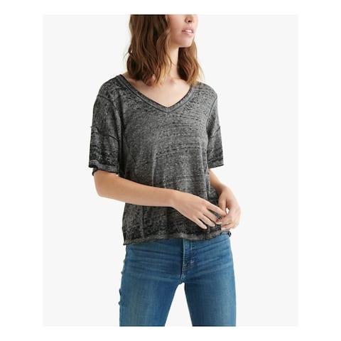 LUCKY BRAND Gray Short Sleeve T-Shirt Top SP