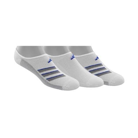 Adidas Mens SuperLite No Show Socks 3 Pack Logo - White/Light Onix/Hi-Res Blue - 6-12