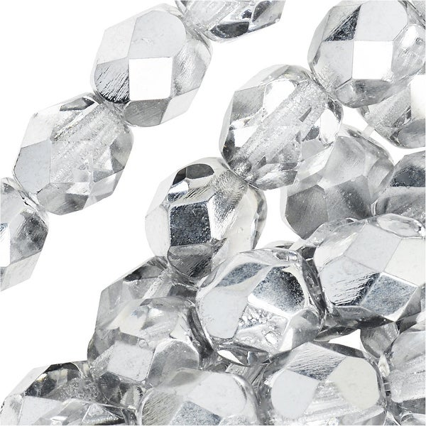 Czech Fire Polished Glass Beads 6mm Round Crystal Silver' (25)