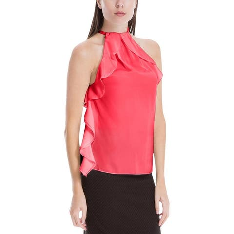 Max Studio Womens Halter Top Ruffled Tie-Neck