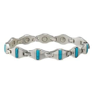 Sabona Jewelry Womens Bracelet Magnetic Cobalt Silver Turquoise 335