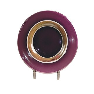 """20"""" Purple, Mauve Pink and Golden Amber Melrose Hand Blown Glass Charger with Decorative Stand"""