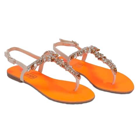 Ventutto Rio Orange/Beige Crystal Cluster T-Strap Sandal