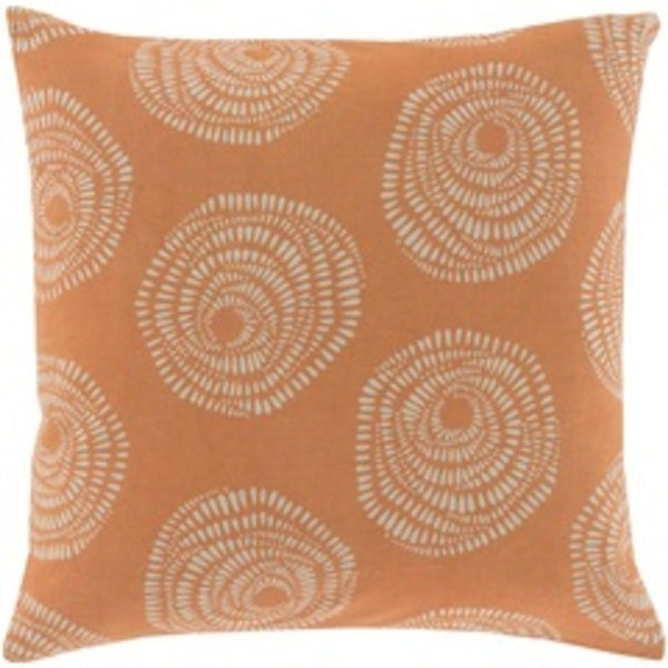 """20"""" Burnt Orange and Light Gray Whimsical Rose Decorative Square Throw Pillow"""