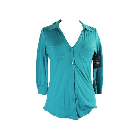 Almost Famous Teal 3/4-Sleeve Equipment Shirt XS