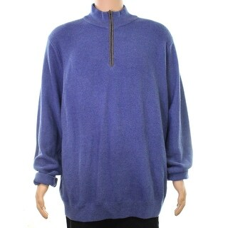 David Donahue NEW Blue Mens Size 2XL 1/2 Zip Wool Longsleeve Sweater