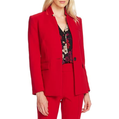 Vince Camuto Womens One-Button Blazer Collared Business - Tulip Red