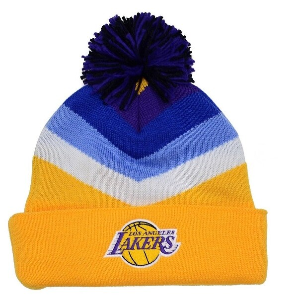 new product 0f98b 538a3 ... real los angeles lakers mitchell ness v stripe vintage logo knit hat  2590b ec0d3