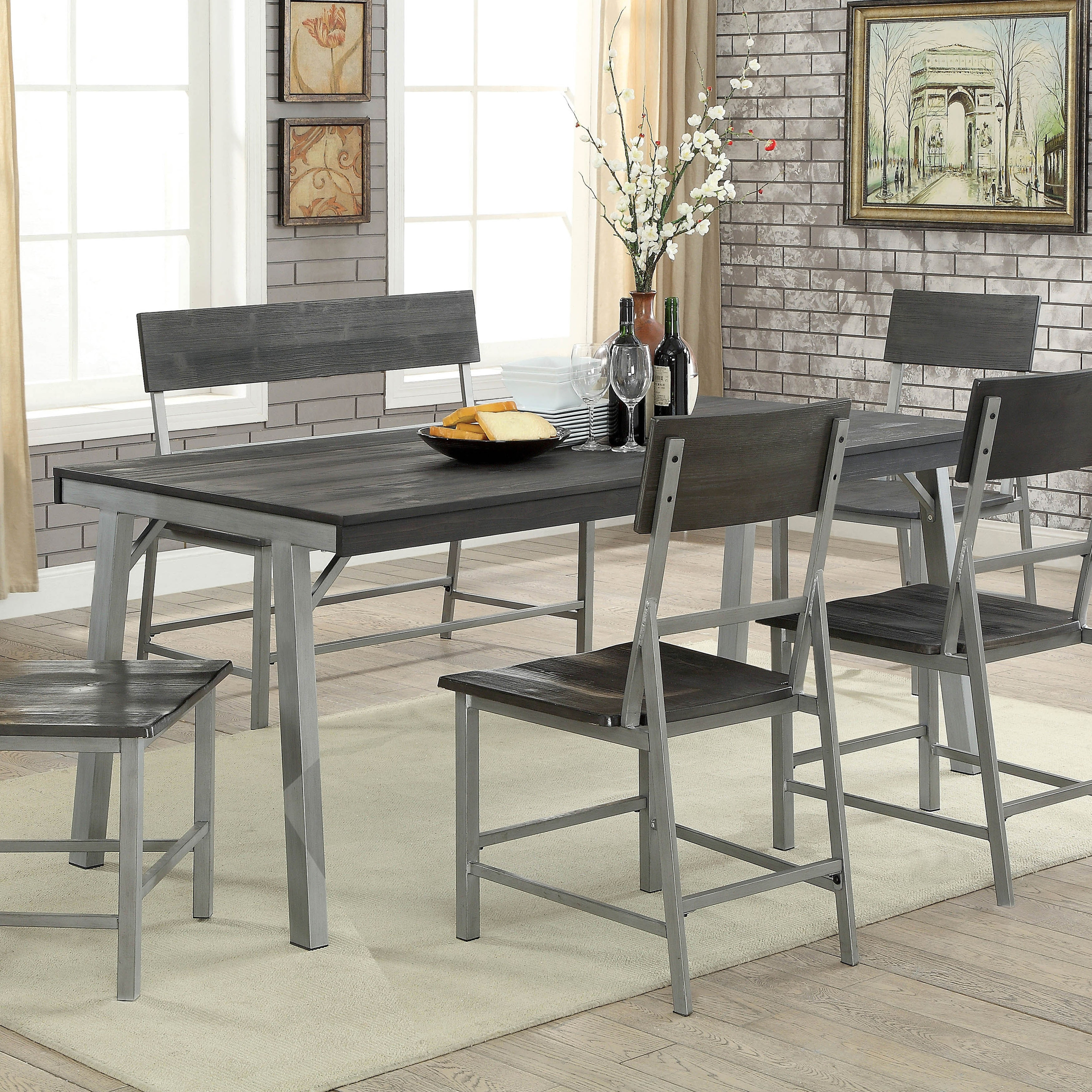 Furniture Of America Traw Industrial Grey 70 Inch Metal Dining Table On Sale Overstock 20879299