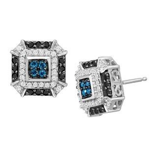 1/2 ct Blue, White & Black Diamond Stud Earrings in 14K White Gold - Blue