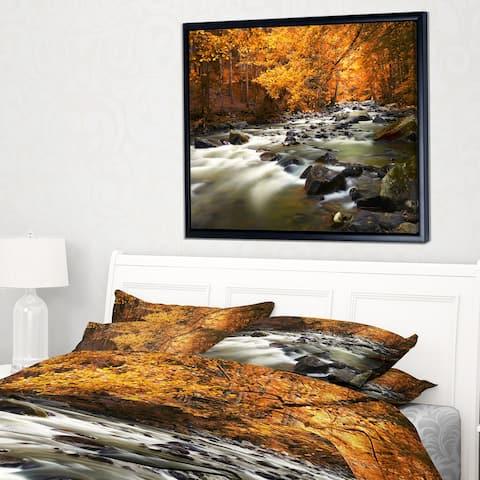 Designart 'Autumn Terrai With Trees and River' Landscape Framed Canvas Art Print