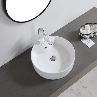 "Link to Ceramic Basin Above Counter Basin-Round With Tap Mounting Hole White - 7'6"" x 9'6"" Similar Items in Sinks"