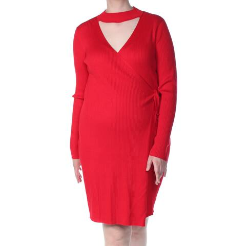SAY WHAT? Womens Red Sweater Long Sleeve Above The Knee Cocktail Dress Plus Size: 3X