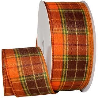 "Fall Harvest Wired Ribbon 2.5""X10yd-Orange/Brown W/Lurex"