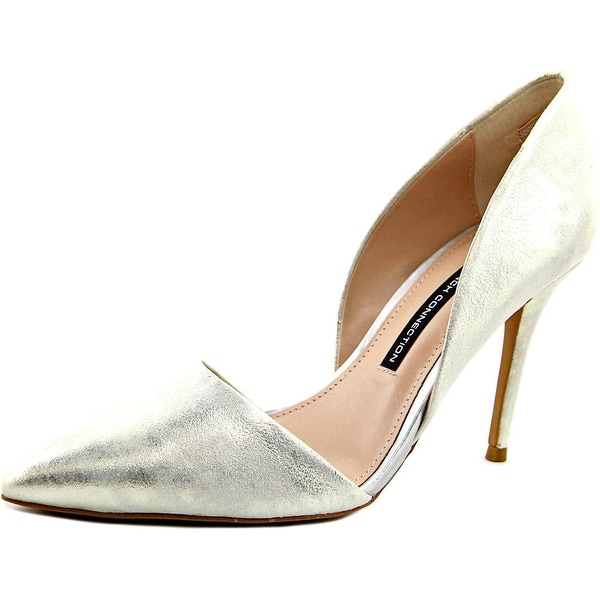 French Connection Elvia Women Pointed Toe Leather Silver Heels