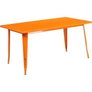 Brimmes Rectangular 31.5'' x 63'' Orange Metal Table for Patio/Bar
