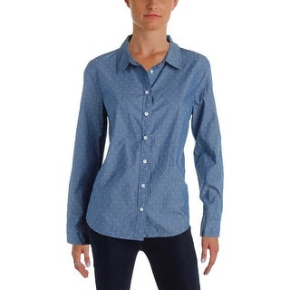 Tommy Hilfiger Womens Button-Down Top Polka Dot Chambray