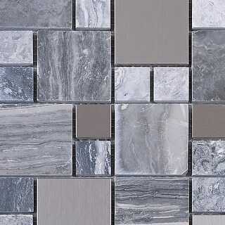 TileGen. Random Square Mixed Material Tile in Gray/Silver Wall Tile (10 sheets/9.6sqft.)