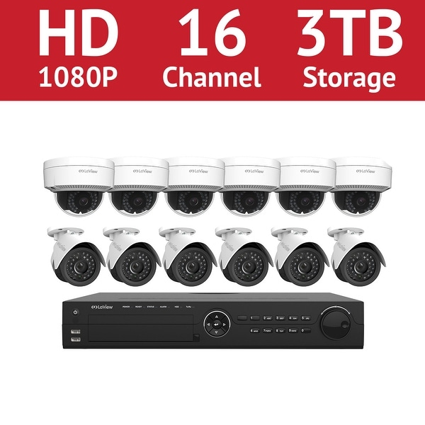 LaView 16 Channel 1080p IP NVR with (6) 1080p Bullet Cameras and (6) 1080p Dome Cameras and a 3TB HDD