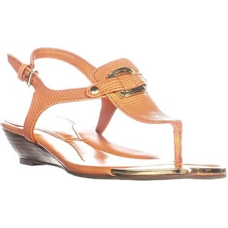 Marc Fisher Barria T-Strap Thong Sandals, Orange Texture - 7.5 us