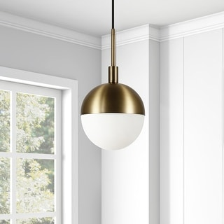 Link to Orb Globe Brass and Frosted glass Pendant Similar Items in Pendant Lights