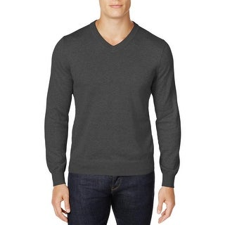 Club Room Classic Fit Cotton V-Neck Sweater Charcoal Heather Large L