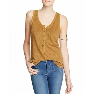 Free People NEW Moss Yellow Womens Size Medium M Burnout Knit Tank Top